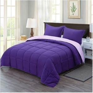 Comforter Set King Purple Reversible  3 Piece